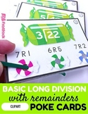 Basic Long Division with Remainders Poke Cards