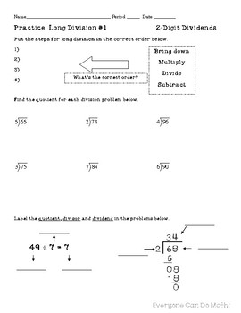 Long Division Practice - Common Core Aligned