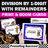 Long Division Practice 4th Grade Math BOOM Cards Dividing by 1 Digit Remainders