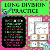 Long Division Practice –No Prep, Print & Go – Task Cards, Worksheets, & More