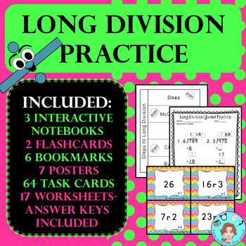 Long Division Practice –No Prep, Print & Go – Task Cards, Worksheets, & More