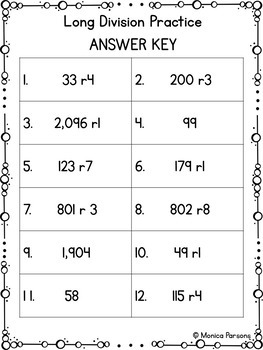 Long Division Worksheets with QR Codes