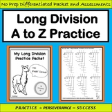 No Prob'llama Long Division Packet: Differentiated Skills Practice & Assessment