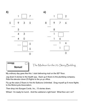 Long Division Practice - fill in the blank