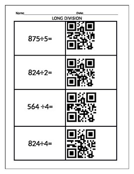 Long Division Practice with QR Reader Answers