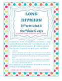 Long Division Problem Sets Differentiated & Scaffolded 5 Ways