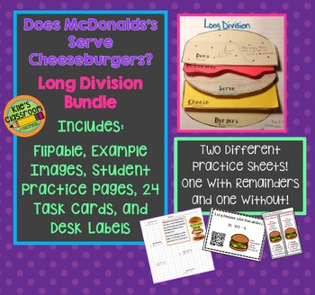Long Division - Does McDonalds Serve Cheese Burgers? Math Notebook / Activities