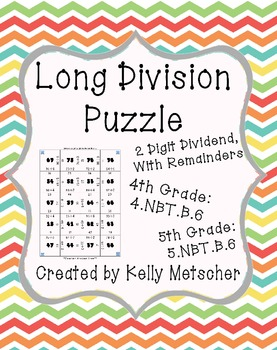long division puzzle 2 digit dividend with remainders by kelly metscher. Black Bedroom Furniture Sets. Home Design Ideas