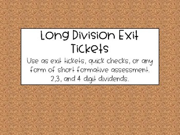 Long Division Quick Check Exit TIckets