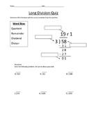 Long Division Quiz #2