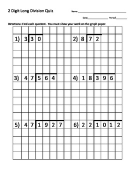 Long Division Quiz (2 Digit Divisor) w/ Graph Paper