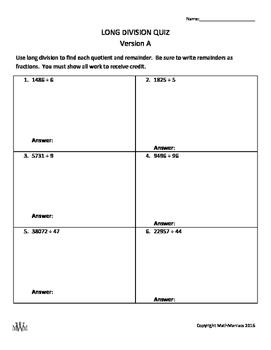 Long Division Quiz (Integers & Polynomials)
