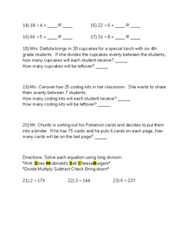 Long Division Review Worksheet