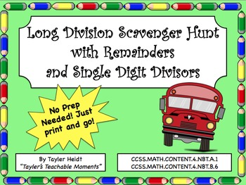 Long Division Scavenger Hunt Activity with Single Digit Divisors