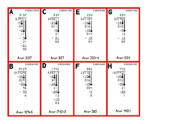 Long Division Self-Checking Cards