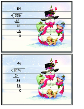 Long Division Snowmen Puzzles with Worksheet