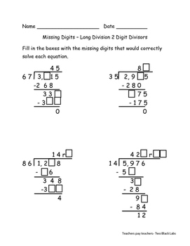 Long Division:  Solve for the Missing Digits