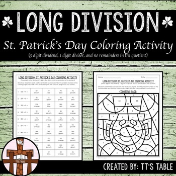 Long Division St. Patrick's Day Coloring Activity (1)