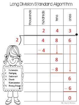 Long Division Standard Algorithm FREEBIE