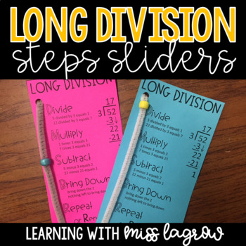 Long Division Steps Sliders Aid Manipulative