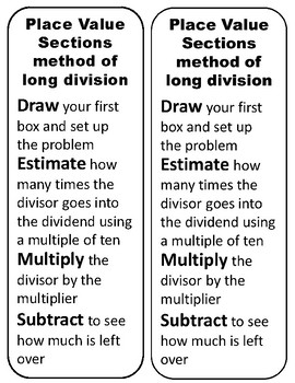 Long Division Strategies bookmarks