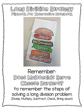 Long Division Strategy - Does McDonalds Serve Cheese Burgers
