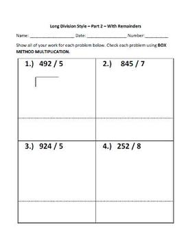 Long Division Style: Practice & Check