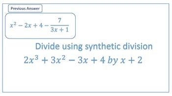 Long Division Synthetic Division Walk About Scavenger Hunt