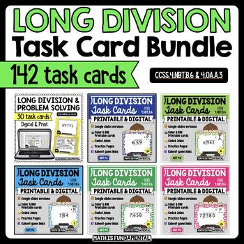 Long Division Task Card Bundle - 5 sets w/ unique answer code