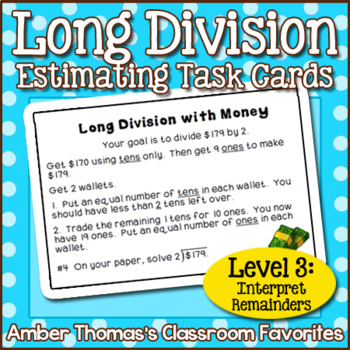 Long Division Task Card Centers Level 3