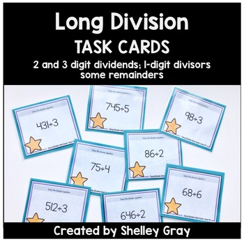 Long Division Task Cards: 2 and 3-digit by 1-digit, some remainders