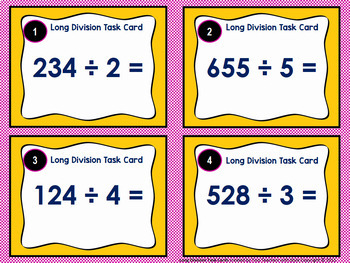 Long Division Task Cards: 3 digit by 1 digit without remainders
