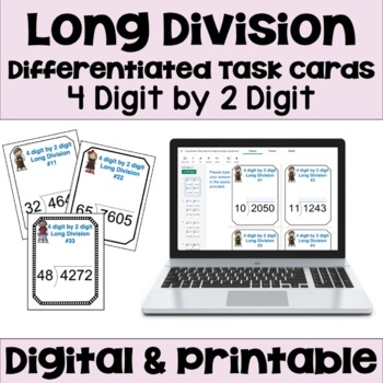 Long Division Task Cards - 4 digit by 2 digit Long Division (3 Levels)