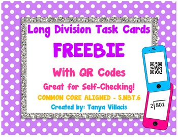Long Division Task Cards FREEBIE - COMMON CORE ALIGNED 5.N