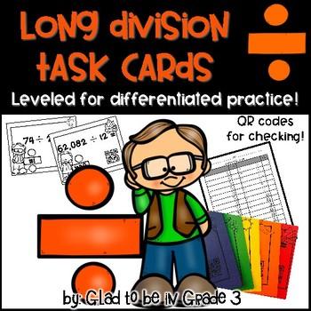 Long Division Task Cards ~ Leveled