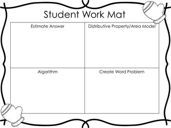 Long Division Task Cards (Mittens Theme)