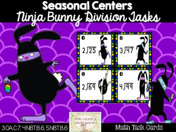 Long Division Task Cards: Ninja Bunny