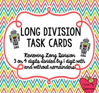 Long Division Task Cards (Robot)
