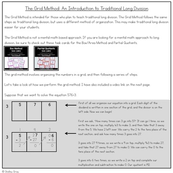 Long Division Task Cards: The Grid Method