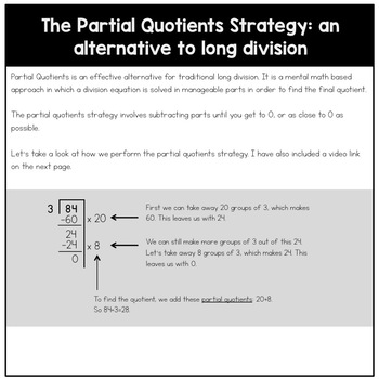 Long Division Task Cards: The Partial Quotients Strategy