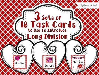 Long Division Task Cards Valentine's Day Theme