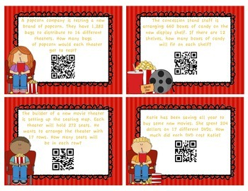 Long Division Task Cards - With QR Codes