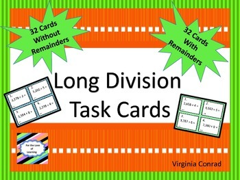 Long Division Task Cards--With and Without Remainders