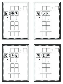 Long Division Task Cards (with Guide Boxes)