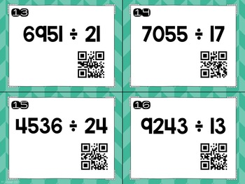 Long Division Task Cards with and without QR Codes