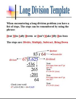 Long Division Template Visual