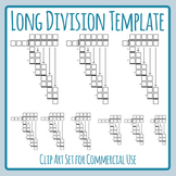 Long Division Templates - Math Numbers Clip Art Set for Co