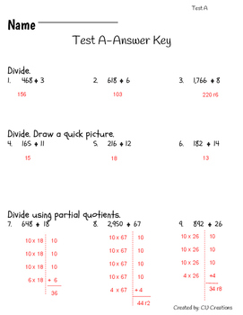 Long Division Test/Review with Answer Key