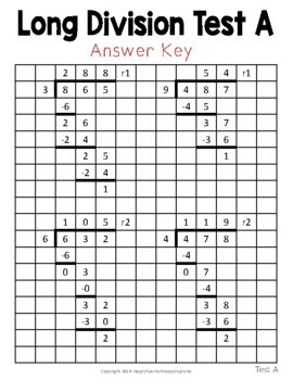 Long Division Tests - Two Test Options with Answer Keys