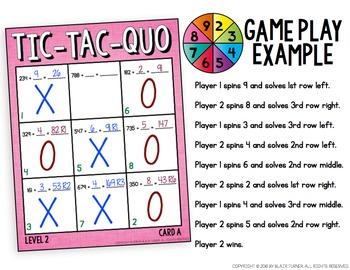 Long Division Tic-Tac-Quo Game: 4th Grade Math Centers 4.NBT.6